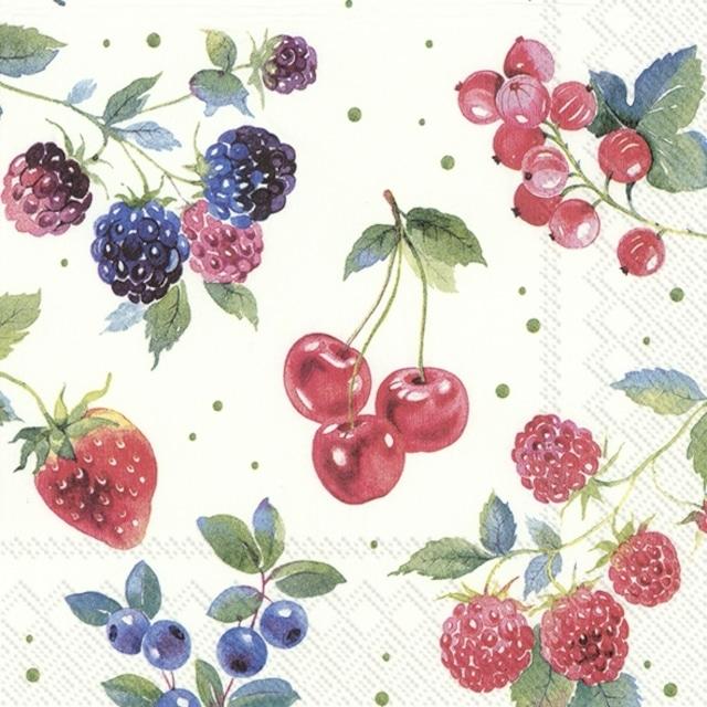 【IHR】バラ売り2枚 ランチサイズ ペーパーナプキン RED SUMMER FRUITS ホワイト