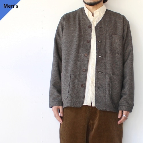 weac. ノーカラーシャツジャケット VICTOR (BROWN CHECK)
