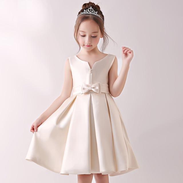 子どもドレス 子供服装 女の子ワンピース ノースリーブ ボールガウン サテン リボン飾り 誕生日