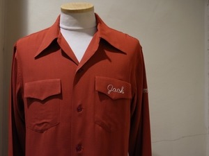 SPECIAL !! 1940s Vintage Rayon Shirt with Embroidery