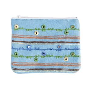 ミラー刺繍 ティッシュ入れ付きミニポーチ 地層柄(水色)【フェアトレード】