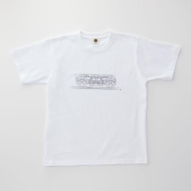 鉄道Tシャツ|台車 ( White × Dark Gray)