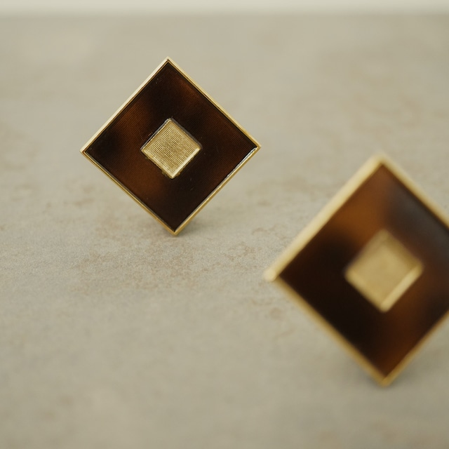 【FRENCH ANTIQUE】BROWN SQUARED EARRINGS