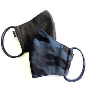 ミリタリー マスク2枚セット 吸水速乾COOLMAX使用 日本製 ブルー&ブラック