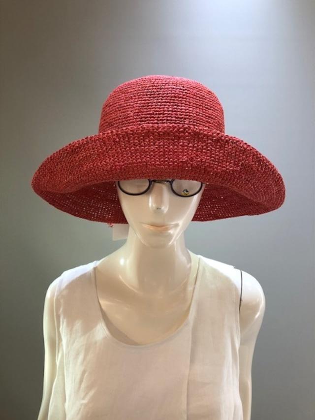 Sans Arcidet (サンアルシデ)FANNY HAT Col.Coco(PinkOrange) ラフィア定番人気の帽子 マダガスカル製