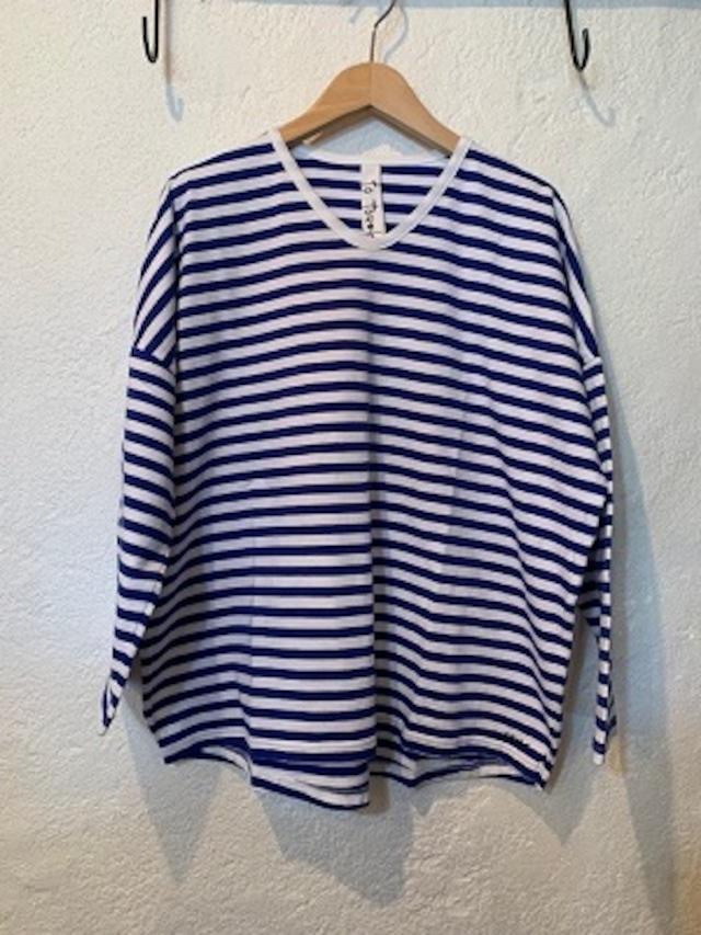 to touch/スピーマ裏毛ワイドボーダーTシャツ ブルー