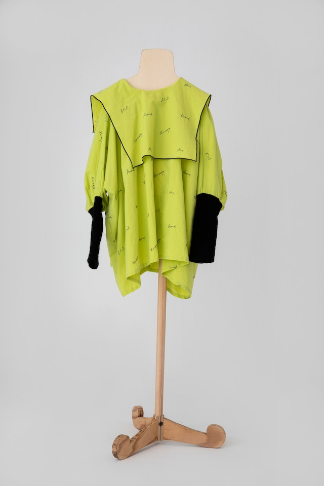 【21AW】folkmade(フォークメイド)  embroidery rogo sailor シャツ limegreen×black(LL)大人