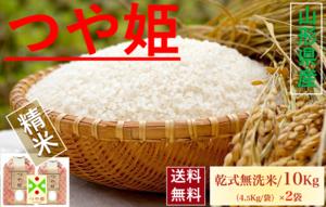 山形県産【つや姫】精米 乾式無洗米 10Kg/袋【送料無料】