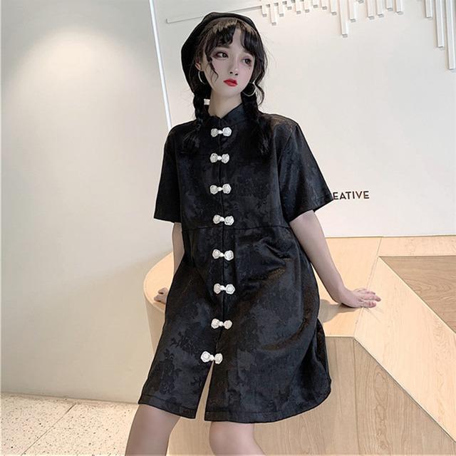 チャイナ風ワンピース 中華服 改良唐装 改良漢服 半袖 可愛い 普段着  デート 黒い ブラック S M