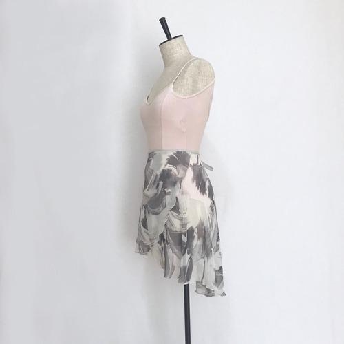 """◇""""Tatiana"""" Ballet Wrap Skirt - Suisai Brush・White [Sheer](水彩ブラッシュ・白 [シアー])"""
