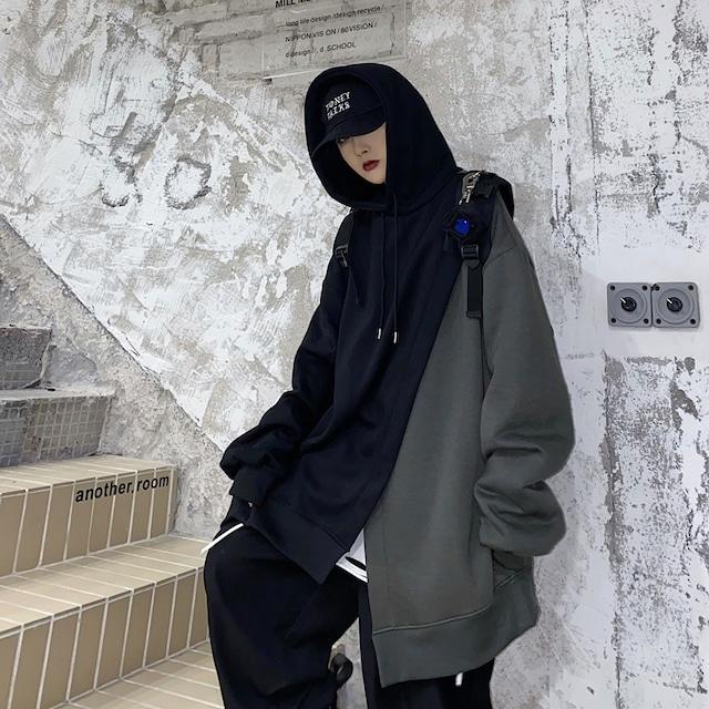 ユニセックス パーカー アシンメトリー 重ねデザイン プラスベルベット ルーズ 韓国ファッション メンズ レディース 男女兼用 フーディー アシメ 大きめ カジュアル ストリート系 TBN-634512223674