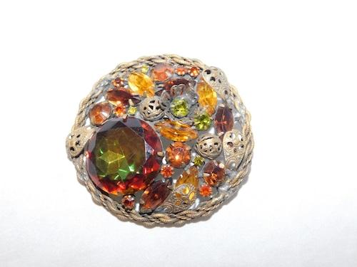 トパーズ色ブローチ(ビンテージ) topaz color vintage  brooch
