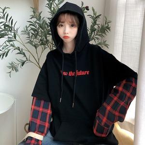 【トップス】ファッション切り替えチェック柄パーカー42911677