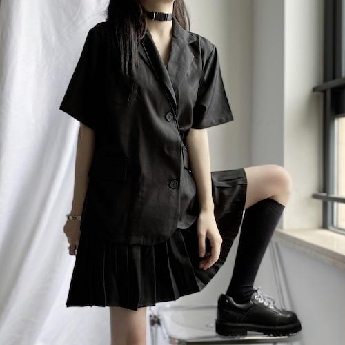 セットアップ ジャケット風シャツ + プリーツスカート Aラインスカート 韓国ファッション レディース 2点セット ミニスカート トップス スーツシャツ シャツ かわいい ガーリー DTC-616135929722