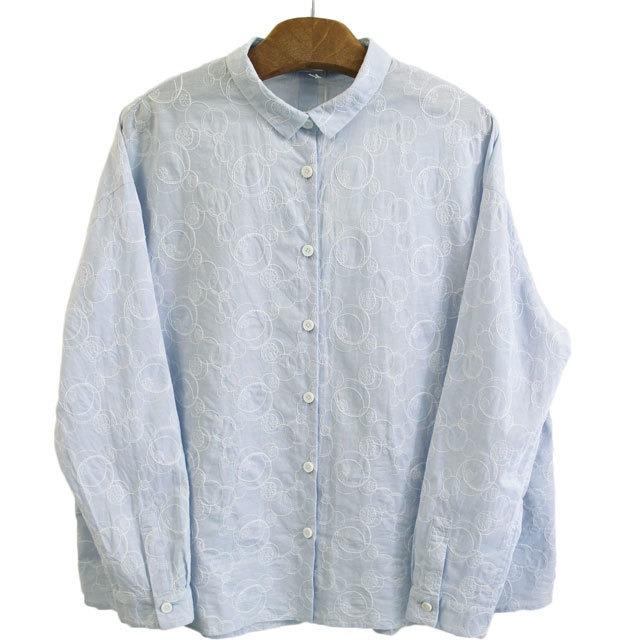 TINA and SUSIE ティナアンドスージー TS191013 水玉シトラス刺繍シャツ 水玉刺しゅうワイドシャツ