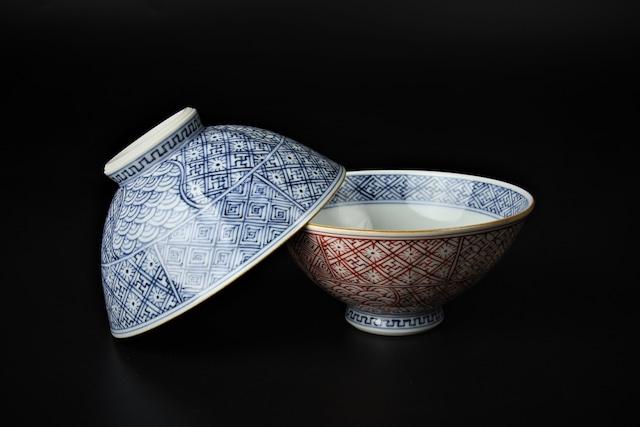 祥瑞小紋飯碗 清水焼
