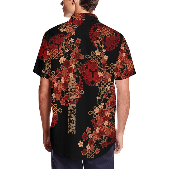 桜蝶家紋 和柄アロハシャツ