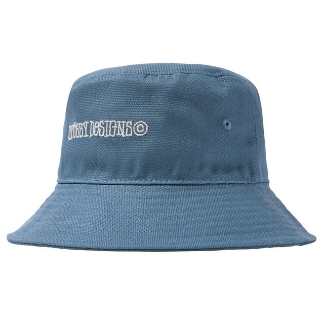 STUSSY CANVAS WIDE BRIM BUCKET HAT LIGHT BLUE