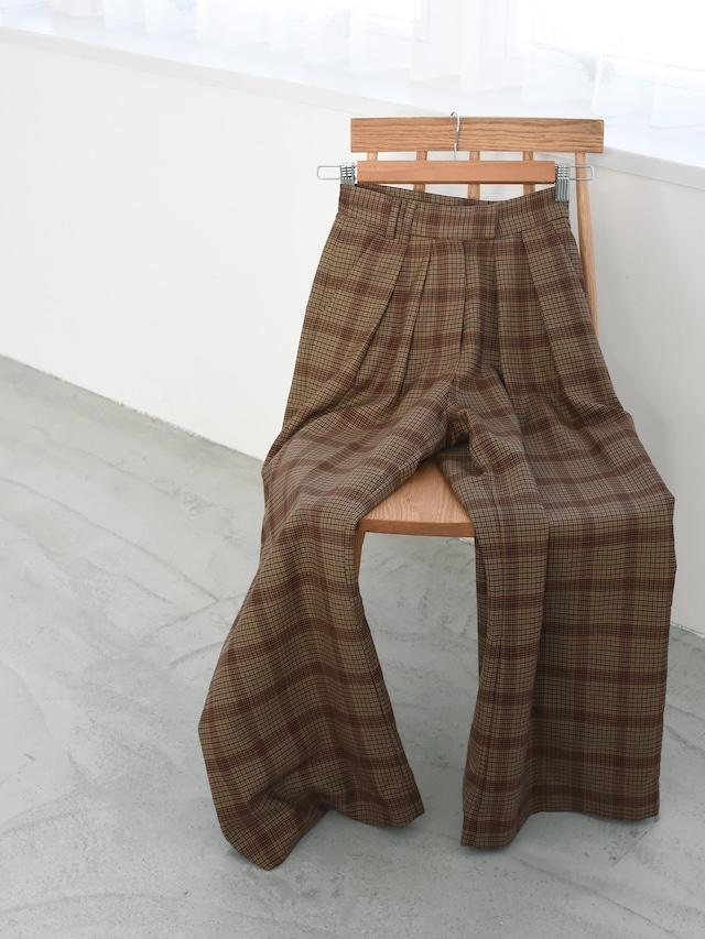 2tuck wide slacks(brown check)
