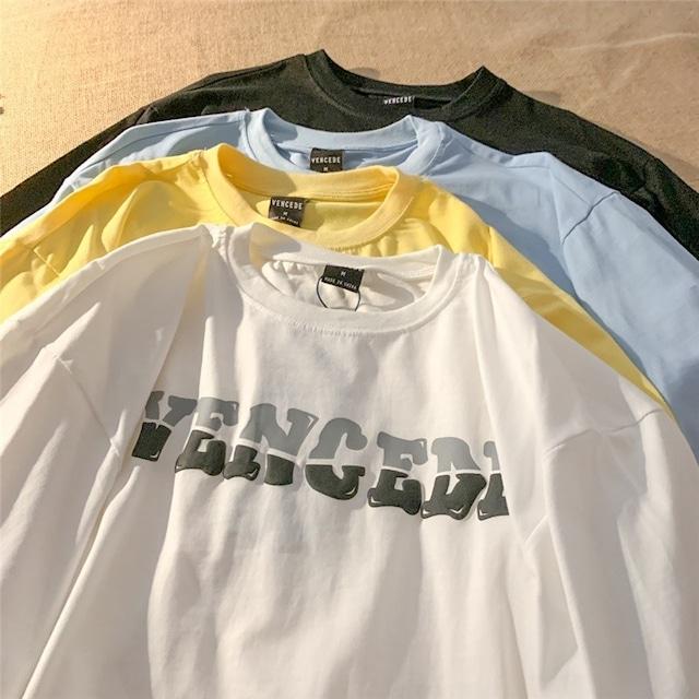 シンプルツーカラーレタープリントTシャツ S4424