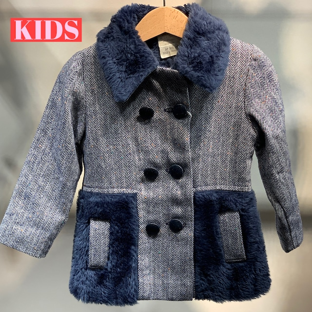 【KIDS】VINTAGE 70's wooly winter jacket with faux fur