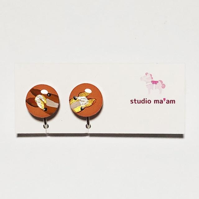 展示★【ひょっこりウマ】イヤリング まる-7(栗毛のおやこ、橙ベース) ※ピアス変更可