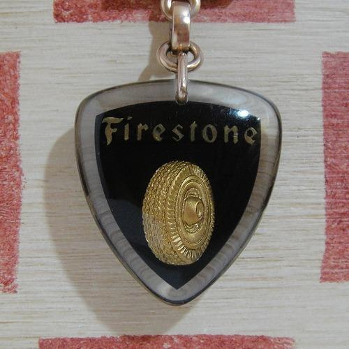 アメリカ Firestons[ファイアストン]タイヤメーカー広告ブルボンキーホルダー(ブラック)