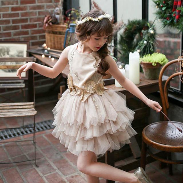 100〜150cm ★ ワンピース ドレス フリル シースルー  お呼ばれ ドレス