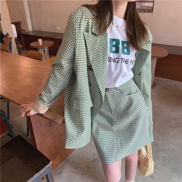 キュートギンガムチェックジャケット+ミニスカート S3770