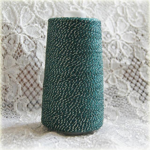 §koko's Selection§ 引き揃え素材 リボン糸 グリーンゴールドラメ 100g 450m  クリスマス 飾り リボン ゴールドラメ
