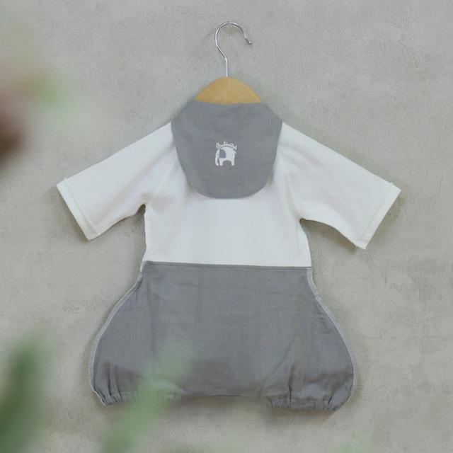 出産祝い ギフトに! 可愛くて着替えやすいカバーオール ラクラクふわふわバルーンオール/汗取りパッドのセット(日本製)