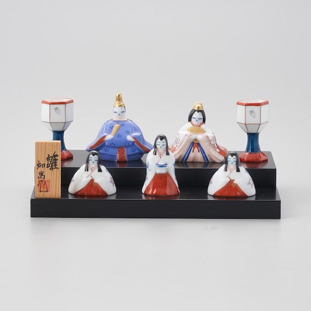 【畑萬窯】染錦 二段雛飾人形