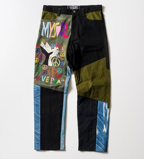 ミリタリー刺繍✖️デニムリメイク5ポケットパンツ MILITARY SHIRTS EMBROIDERY REMAKE PANTS