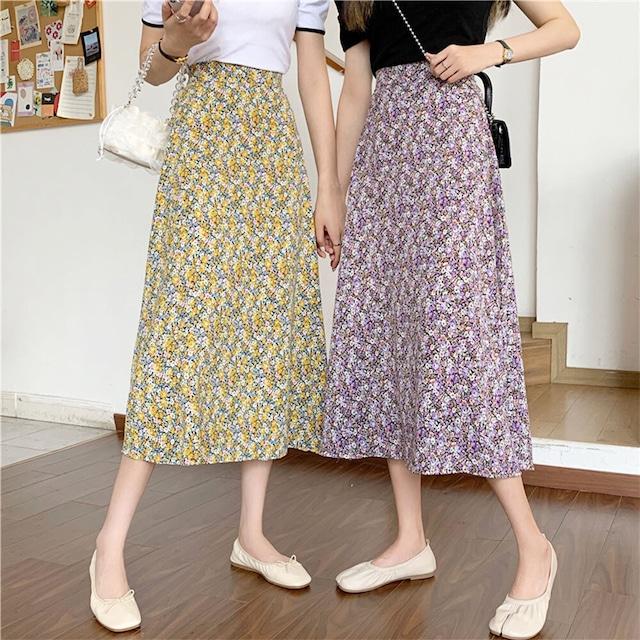 フラワープリントスカート   花柄 Aラインスカート ロングスカート