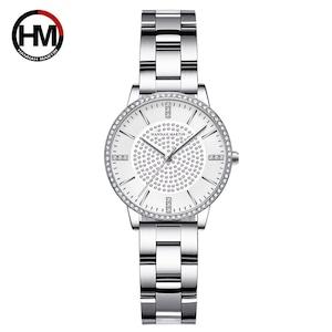 ステンレス鋼ストラップ日本運動ローズゴールドダイヤモンド女性ラインストーン腕時計女性クォーツ時計1074BY
