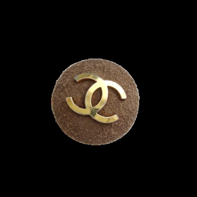 【VINTAGE CHANEL BUTTON】ブラウンスェード ゴールドココマークボタン 30mm C-21053