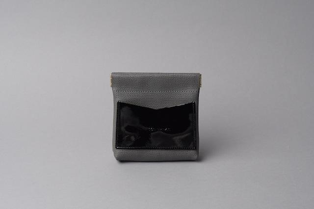 ワンタッチ・コインケース ■ダークグレー・エナメルブラック■ - メイン画像