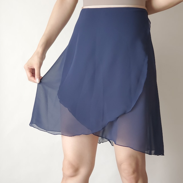 LONG wrap skirt【ネイビー×ライトベージュ】