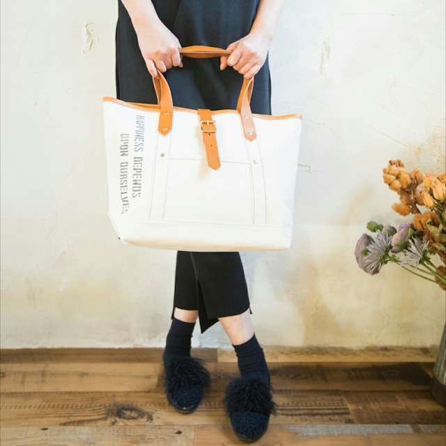 キナリ帆布×レザーハンドル(キャメル)トートバック Mサイズ