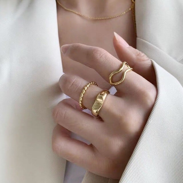 trend gold ring 3set
