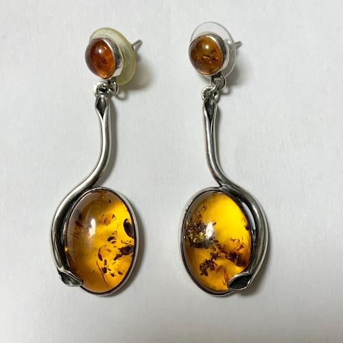 Vintage Polish Baltic Amber & 925 Silver Botanical Pirced Earrings