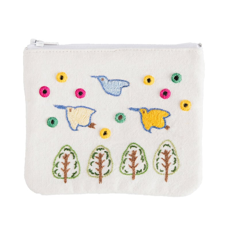 【第3世界ショップ】ミラー刺繍ティッシュ入れ付きミニポーチ ちどり柄(白)