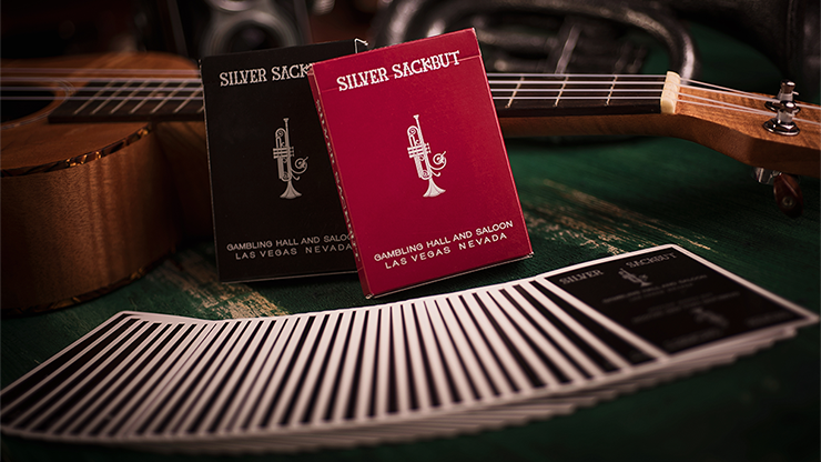 Limited Edition Silver Sackbut (Red) Playing Cards by Magic Square