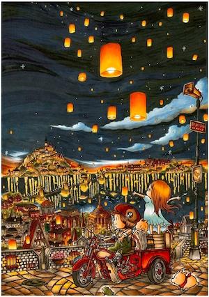 新作!SHU matsukura  サンラーナの熱気球 A1サイズポスター(フレームなし) 送料別対象商品【着払い】