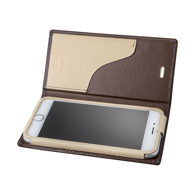 GRAMAS Full Leather Case スマホ堂 Limited for iPhone6s/6 Brown×Cream×Light Blue - メイン画像