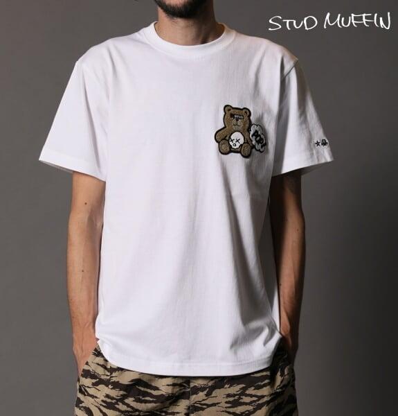 STUD MUFFIN スタッドマフィン STUDベア ワッペン 半袖 Tシャツ メンズ トップス ホワイト