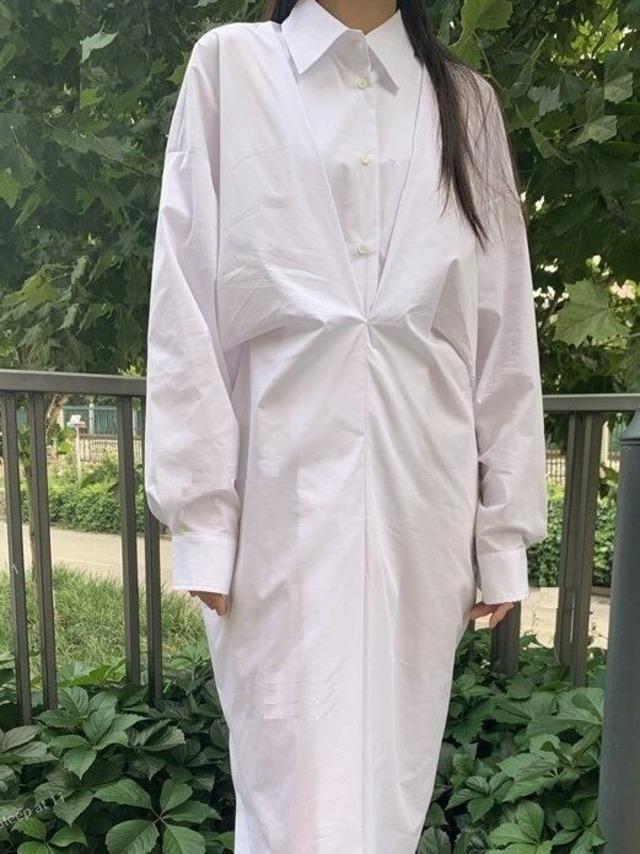 Front design shirt one-piece (フロントデザインシャツワンピース)b-475