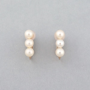Row trio pearl earring