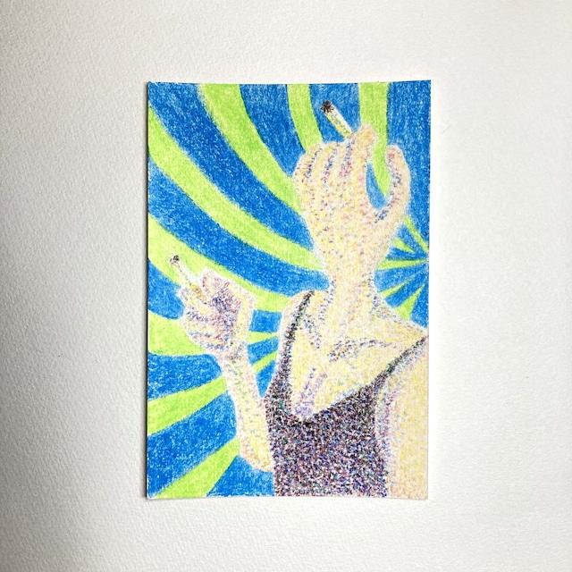 Smoking human / 100mm×148mm / Crayon / Original Drawing