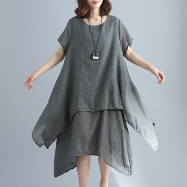 コットンリネン 無地半袖 ドレス ワンピース 3色